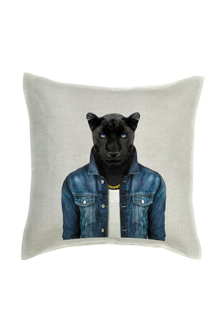Panther Male Cushion Cover - Linen