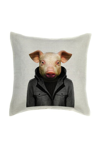 Pig Cushion Cover - Linen