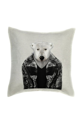 Polar Bear Cushion Cover - Linen