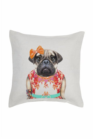 Miss Pug Cushion Cover - Linen