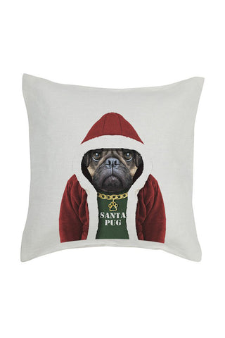 Santa Pug Cushion Cover - Linen