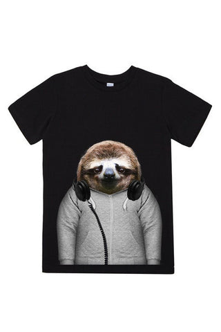 kids sloth t shirt black