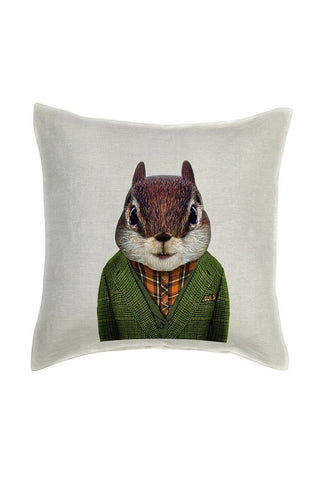 Squirrel Cushion Cover - Linen