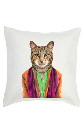 Cat Cushion Cover - Linen