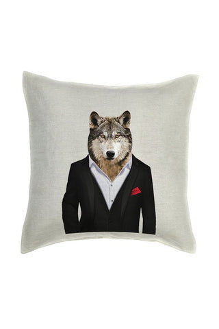 Wolf Cushion Cover - Linen