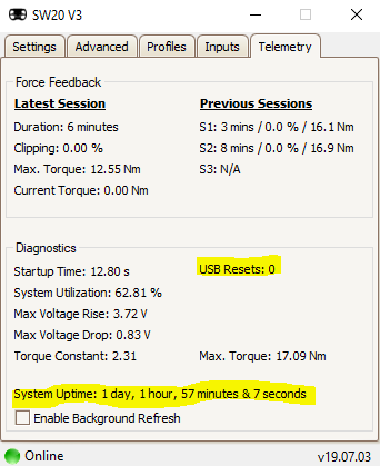 USB Resets in Telemetry tab