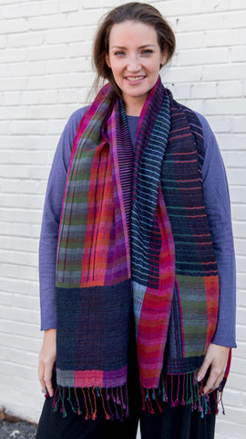 Cotton/Wool Shawl - Heritage Weave