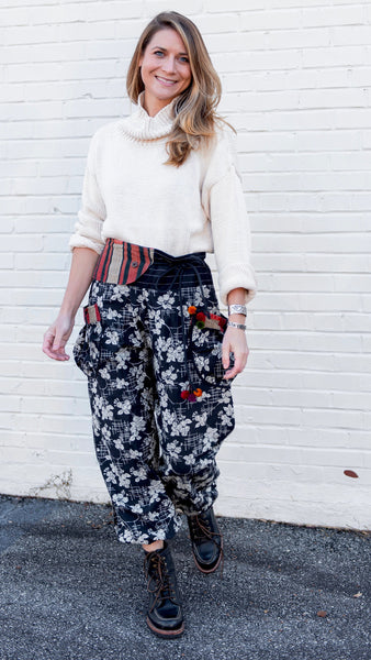 Hill Tribe Pants with Hmong Vintage Embroidered Waist