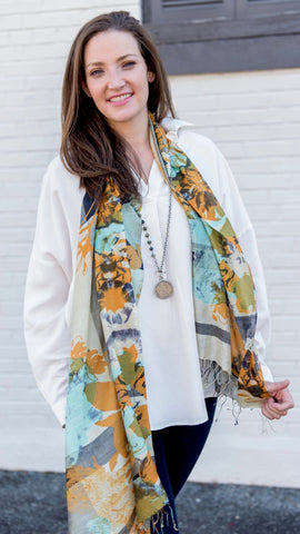 Handwoven Silk Scarf Gold and Teal Flora