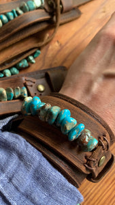 Wide Leather Cuff with Turquoise Regalite Gemstone