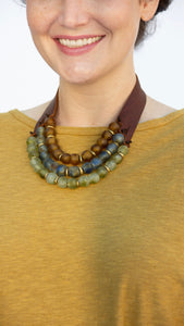 Stephanie Leigh Three Tiered Leather/Bead Necklace