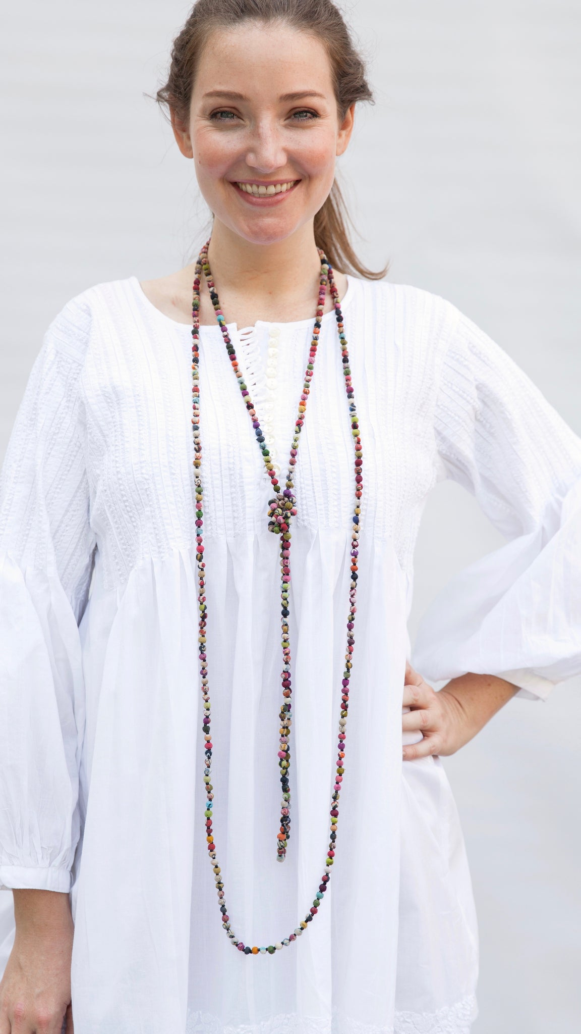 Flapper Style Kantha Bead Necklace