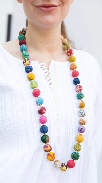 Garland Style Kantha Bead Necklace