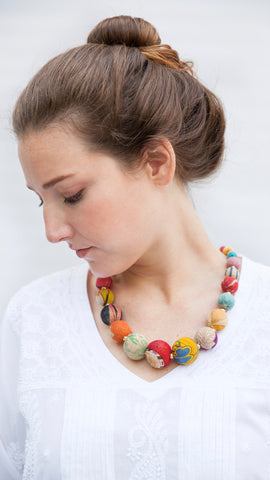 Graduated Kantha Bead Necklace