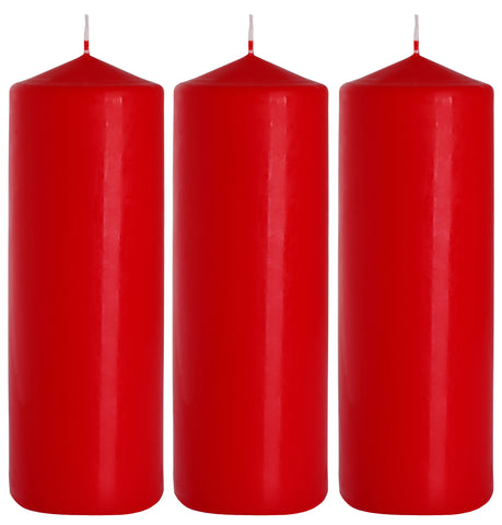 Pillar Candles in Red 80/250 set of 3