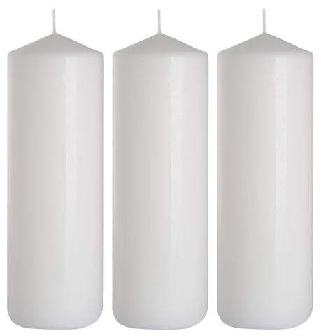 Pillar Candles in White 80/250 set of 3