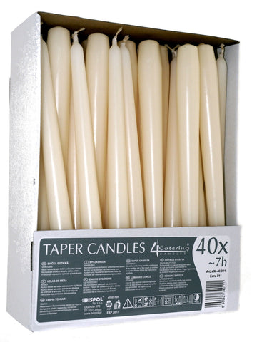 Ivory Taper Candles 4 Catering