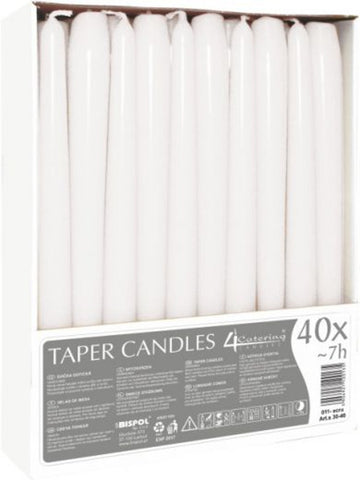 White Taper Candles 4 Catering