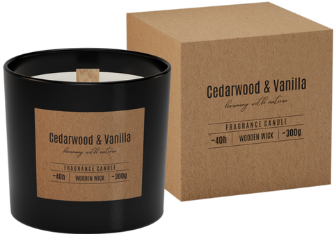 Wooden wick Scented Candle Cedarwood & Vanilla