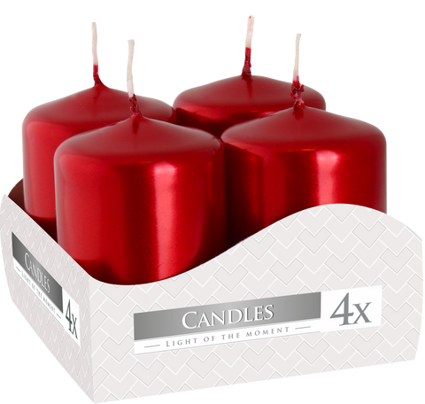 Votive Candles Red Metallic