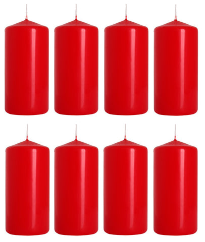 Pillar Candles in Red 50/100 set of 8