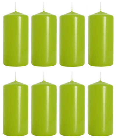 Pillar Candles in Light Green 50/100 set of 8