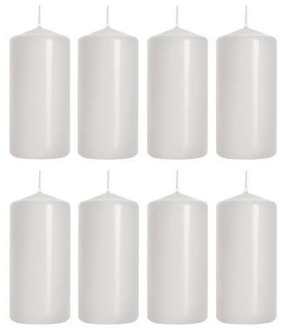 Pillar Candles in White 50/100 set of 8
