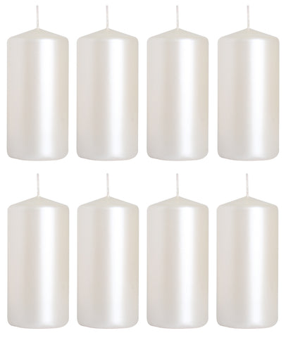 Pillar Candles in White Pearl 50/100 set of 8