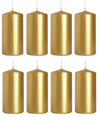 Pillar Candles in Gold Metallic 50/100 set of 8