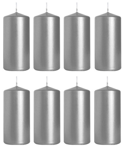 Pillar Candles in Silver Metallic 50/100 set of 8