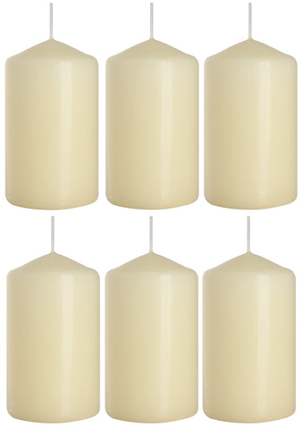 Pillar Candles in Ivory 60/100 set of 6