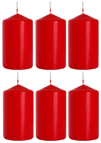 Pillar Candles in Red 60/100 set of 6