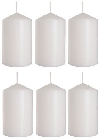 Pillar Candles in White 60/100 set of 6