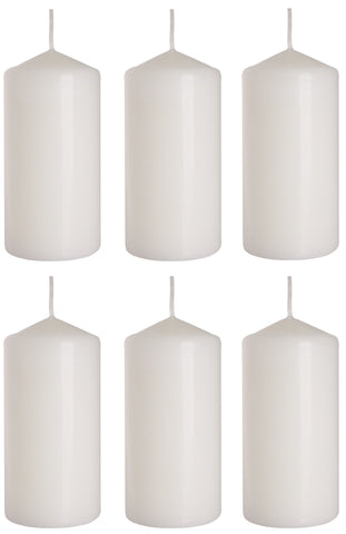 Pillar Candles in White 60/120 set of 6