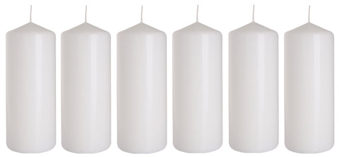 Pillar Candles in White 60/150 set of 6