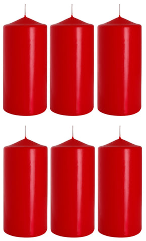 Pillar Candles in Red 70/150 set of 6