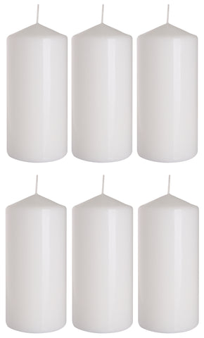 Pillar Candles in White 70/150 set of 6