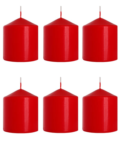 Pillar Candles in Red 80/90 set of 6