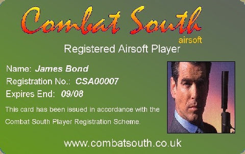 Combat South Registration Card