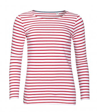 SOL'S Ladies Marine Long Sleeve Stripe T-Shirt (garment & printing / 01403)