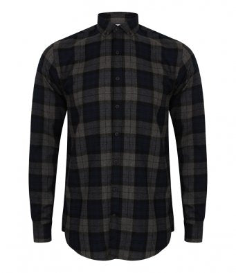 SF Men Brushed Check Casual Shirt (garment & printing / SF560)