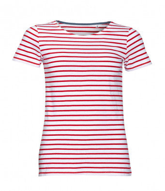 SOL'S Ladies Miles Stripe T-Shirt (Garment & printing / 01399)