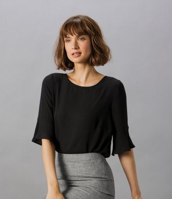 Clayton and Ford Ladies Regular Fit Fluted Sleeve Top (garment & printing / K763)