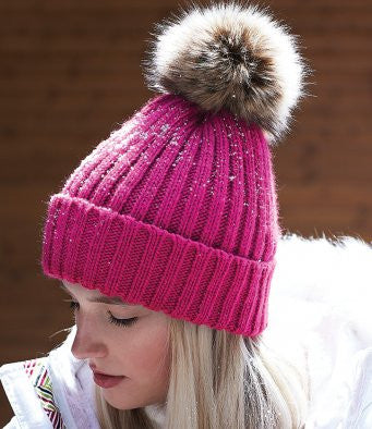 Faux Fur Pop-Pom Beanie