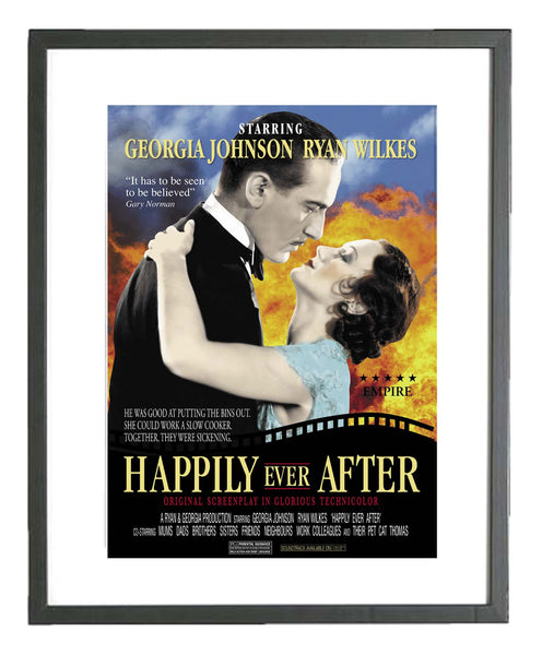 Retro Lovers Film Framed Print (personalised)