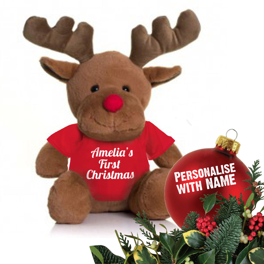 1st Christmas Cuddly Rudolph (personalised)