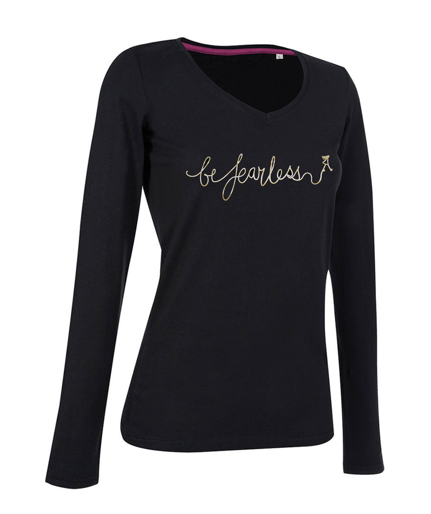 'Be Fearless' V-neck Long Sleeve Top