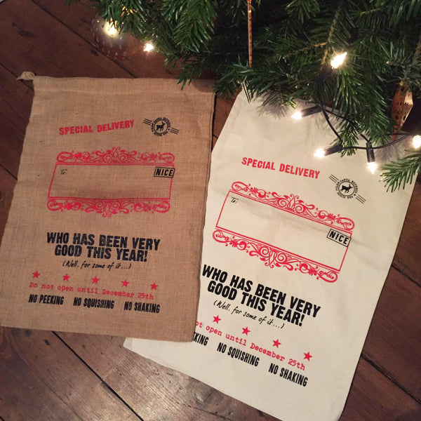 Traditional Hand-Printed Santa Sack