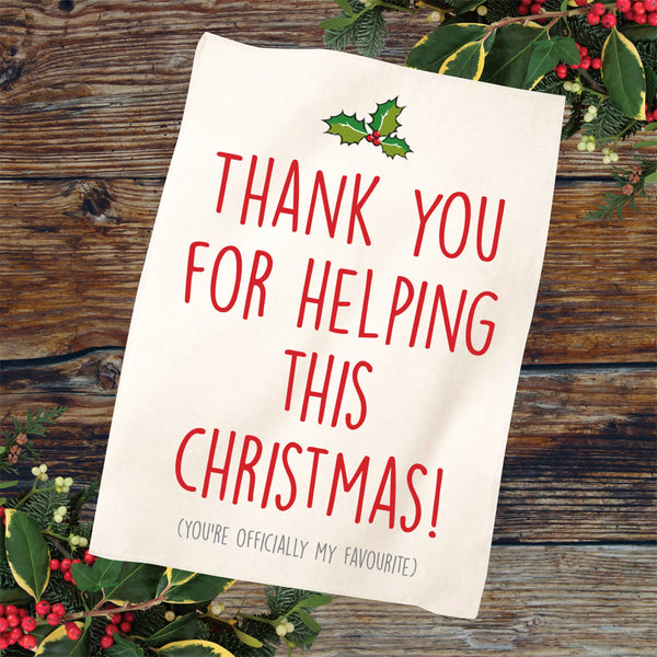 'Thank You' Christmas Tea Towel