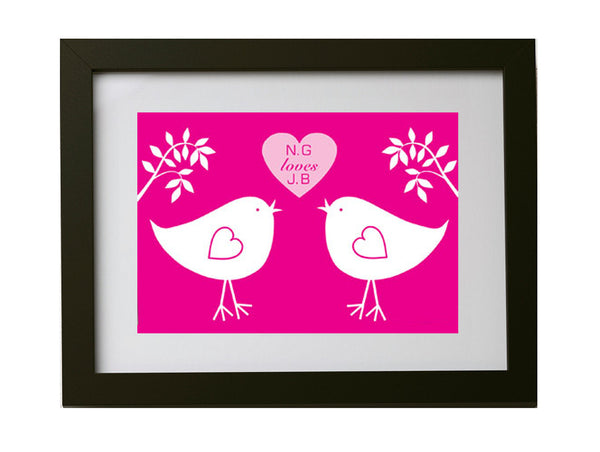 Personalised Lovebird Framed Print